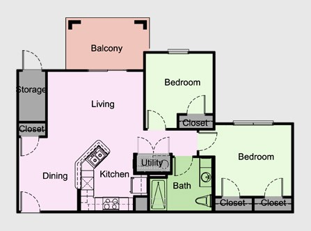 863 sq. ft. Cambridge/B2/60% floor plan