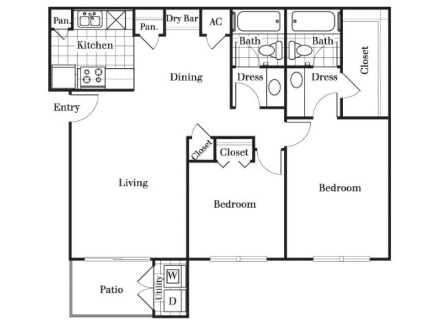 960 sq. ft. B3 floor plan