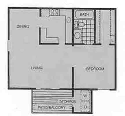 617 sq. ft. A floor plan