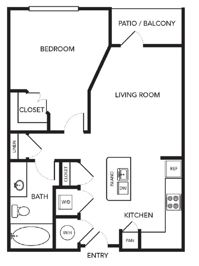 615 sq. ft. A1 Alt floor plan
