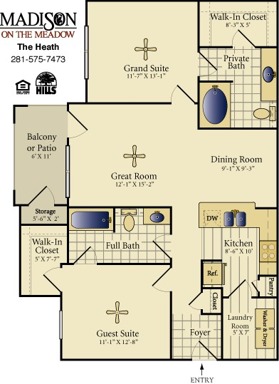 1,088 sq. ft. HEATH floor plan