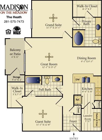 1,088 sq. ft. Heath floor plan