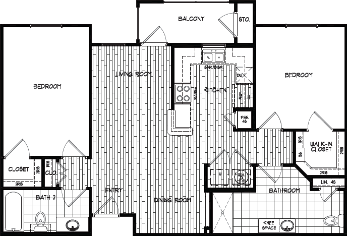 1,043 sq. ft. 60% floor plan