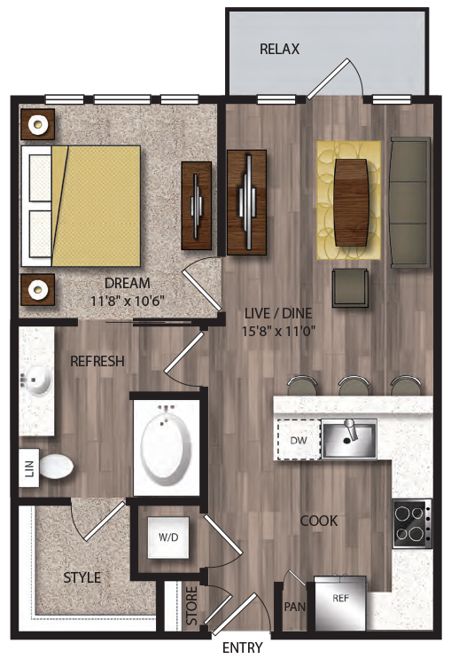 655 sq. ft. to 678 sq. ft. A4.1 floor plan