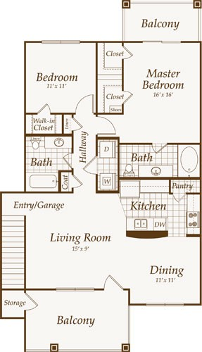 1,193 sq. ft. Pacific-Up floor plan