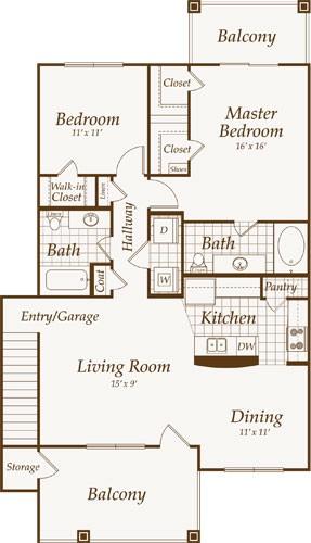 1,193 sq. ft. PACIFIC-up floor plan