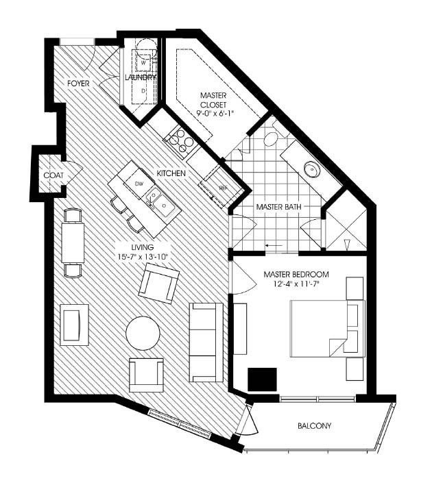 849 sq. ft. A11 floor plan