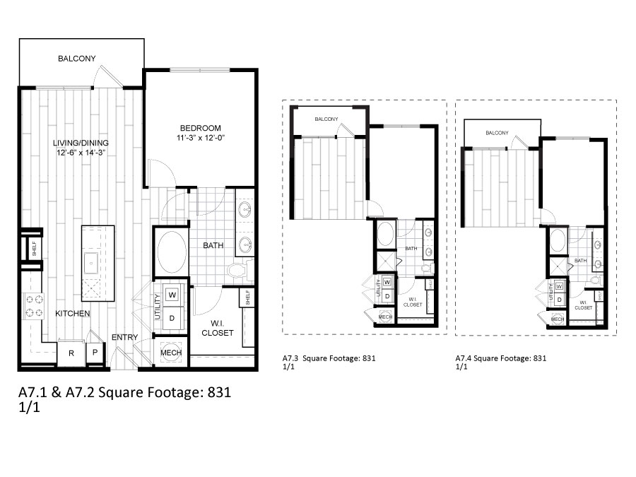 831 sq. ft. A7.1 floor plan