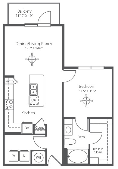 744 sq. ft. A6 floor plan