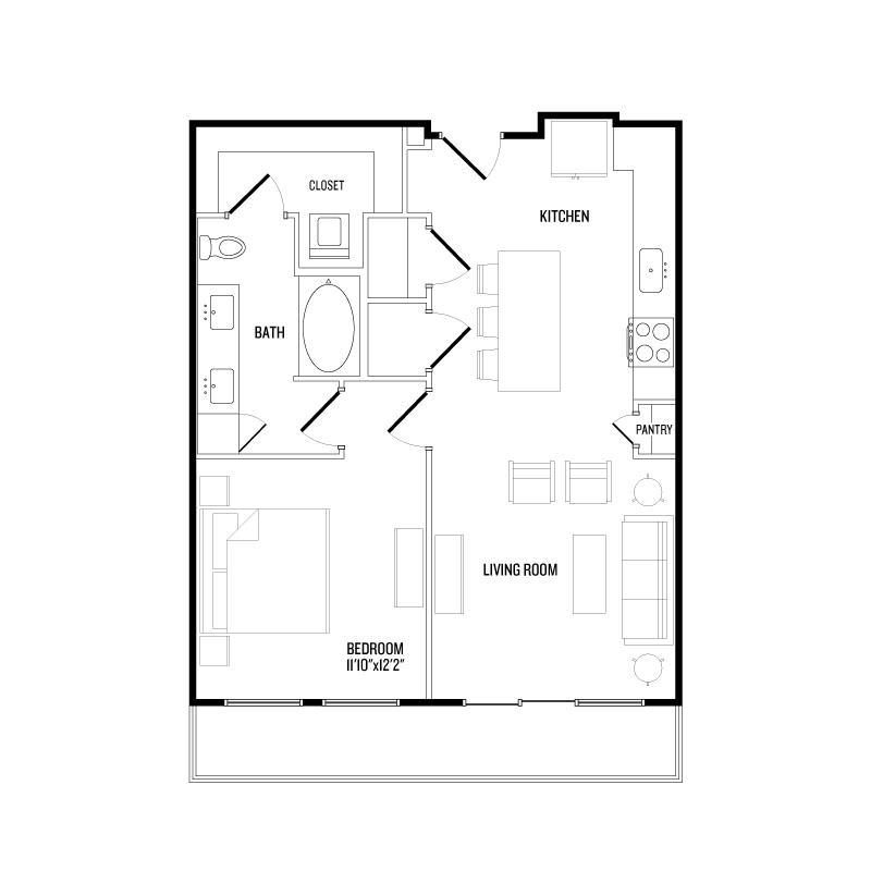 761 sq. ft. A7 floor plan