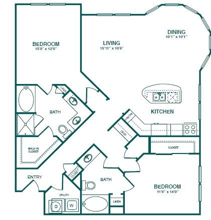 1,361 sq. ft. C4 floor plan