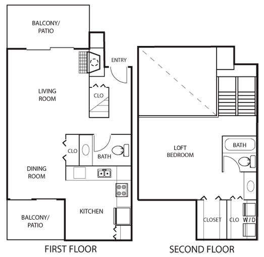 969 sq. ft. A2 floor plan