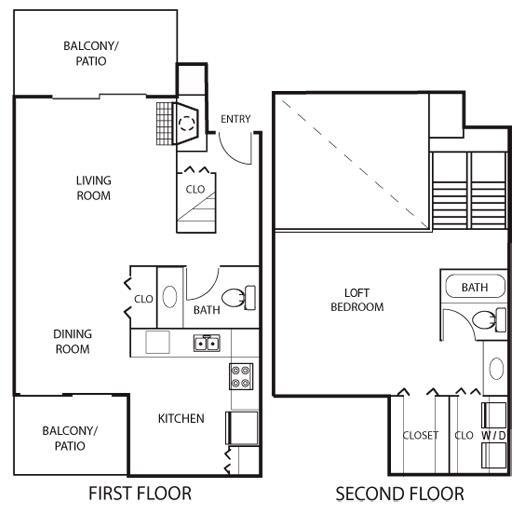 969 sq. ft. A2 floor plan