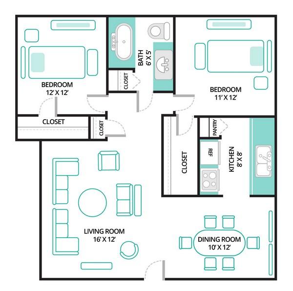 795 sq. ft. B1 floor plan