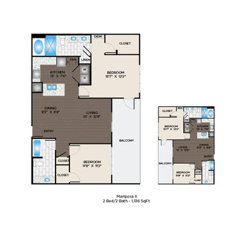 1,136 sq. ft. Mariposa II floor plan