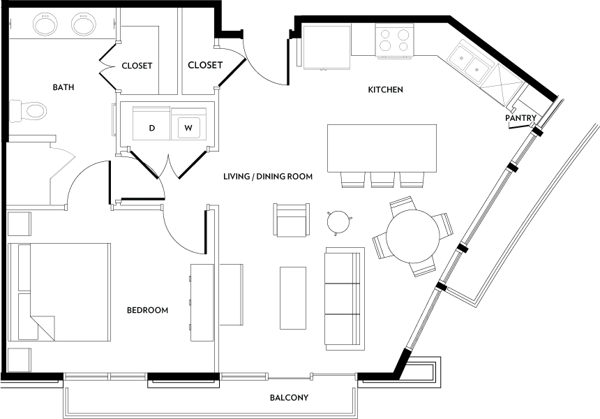 746 sq. ft. A4 floor plan