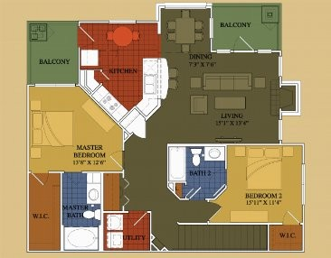 1,260 sq. ft. Maple floor plan