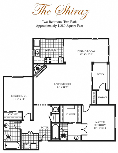 1,280 sq. ft. Shiraz floor plan