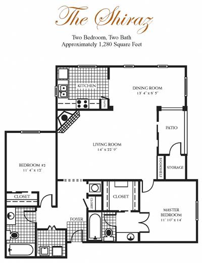 1,280 sq. ft. SHIRAZ floor plan