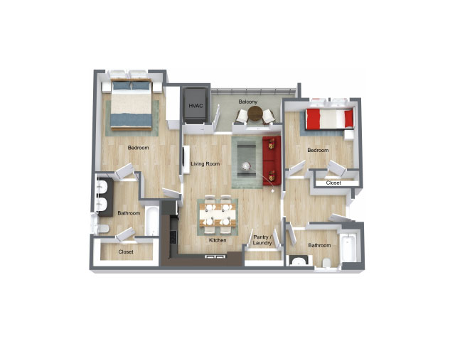 978 sq. ft. 60% floor plan