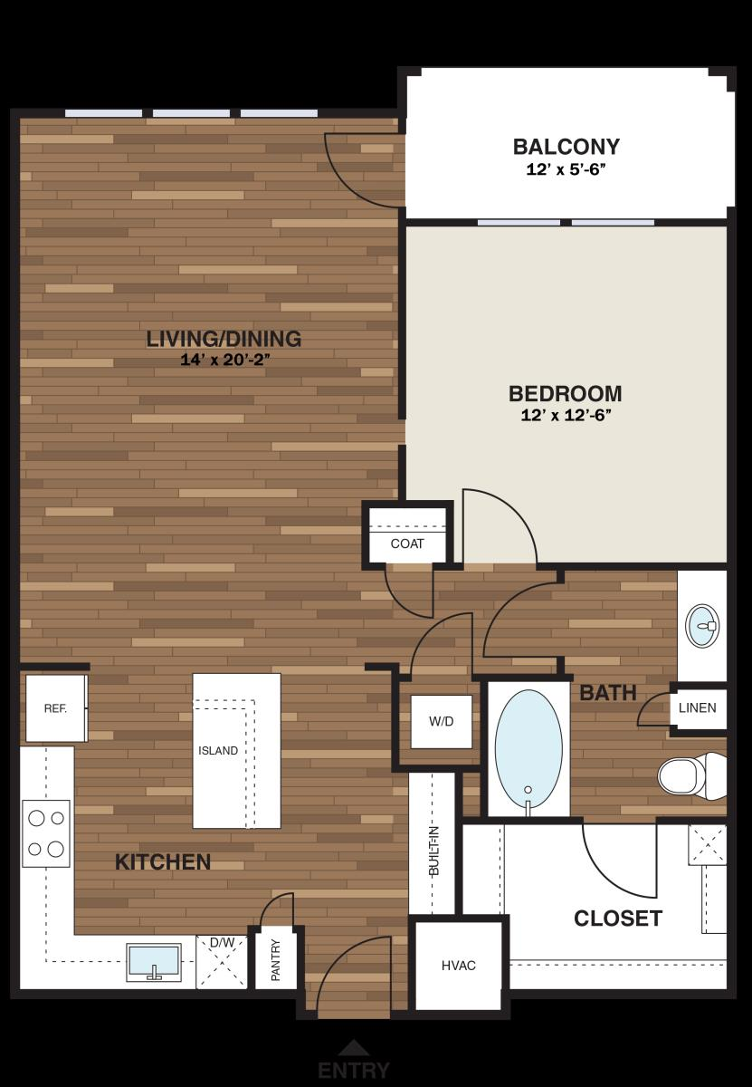 850 sq. ft. A11G floor plan