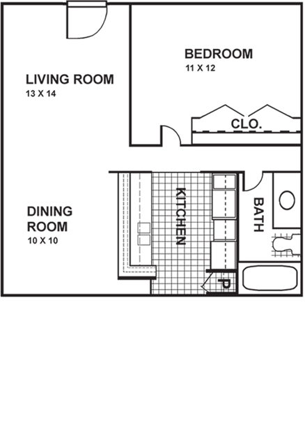 610 sq. ft. AL floor plan