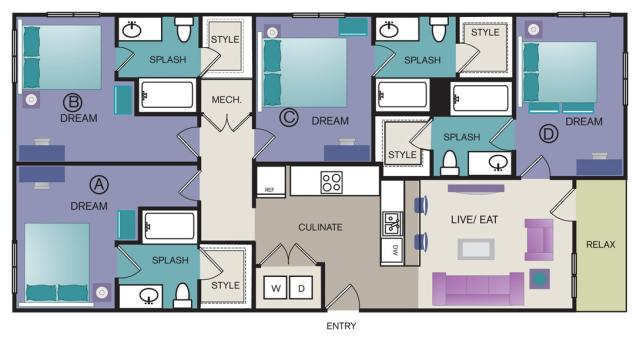 1,465 sq. ft. D2 floor plan