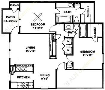 1,143 sq. ft. Woodland SR floor plan