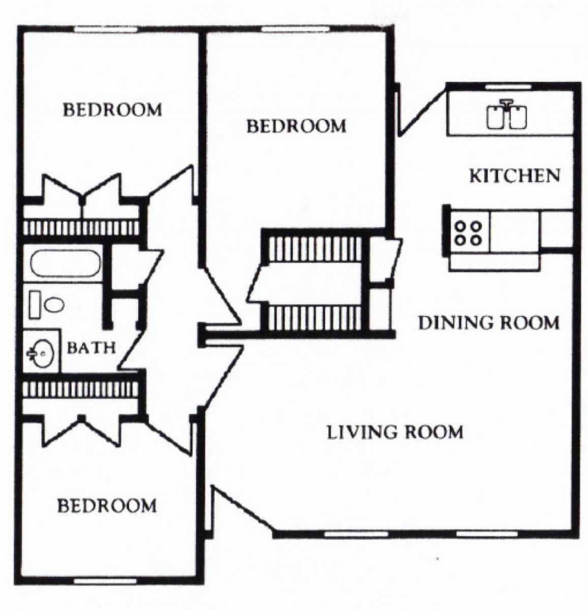 1,180 sq. ft. F floor plan