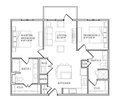 1,008 sq. ft. floor plan
