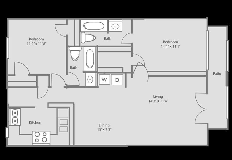 1,024 sq. ft. HAMPTON floor plan
