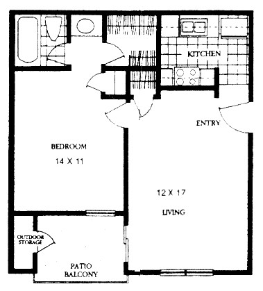 566 sq. ft. TURNING POINT floor plan