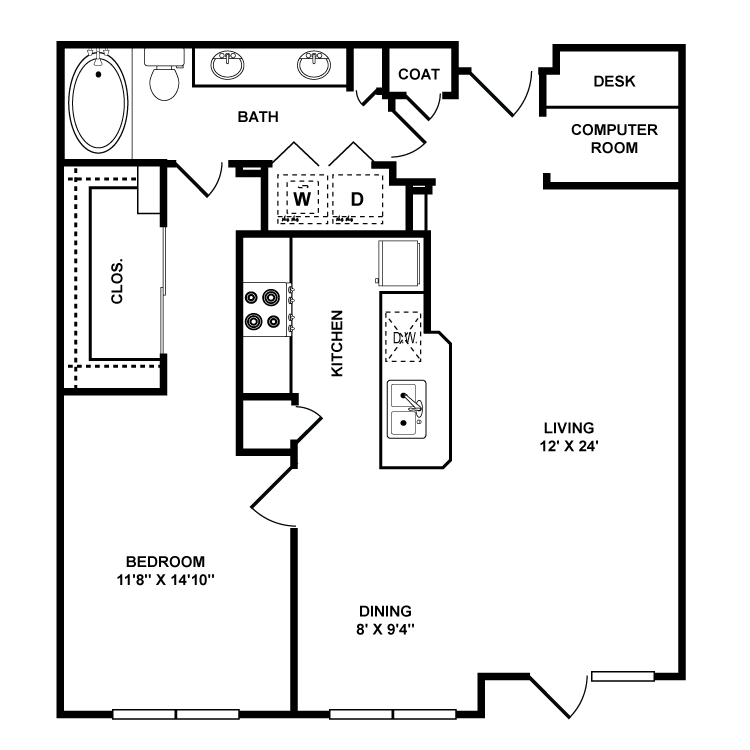 947 sq. ft. Whitney floor plan