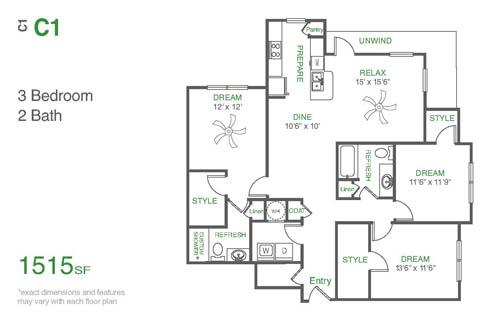 1,515 sq. ft. C1 floor plan