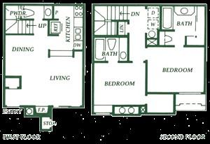 929 sq. ft. B1 floor plan