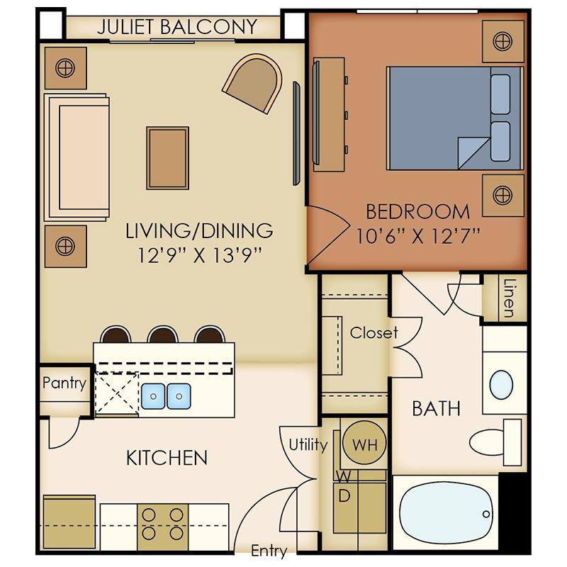 625 sq. ft. A4 floor plan