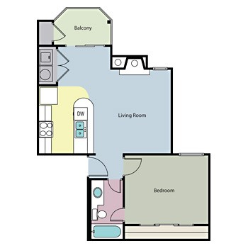 625 sq. ft. LONESTAR floor plan
