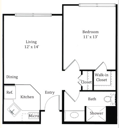 536 sq. ft. Bently floor plan