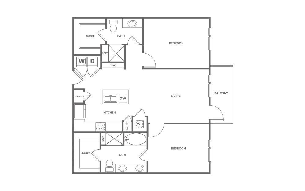 1,167 sq. ft. B1 floor plan