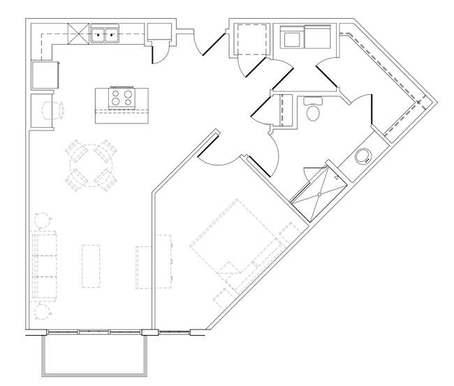 896 sq. ft. Lieberman floor plan