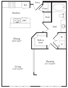 778 sq. ft. E floor plan