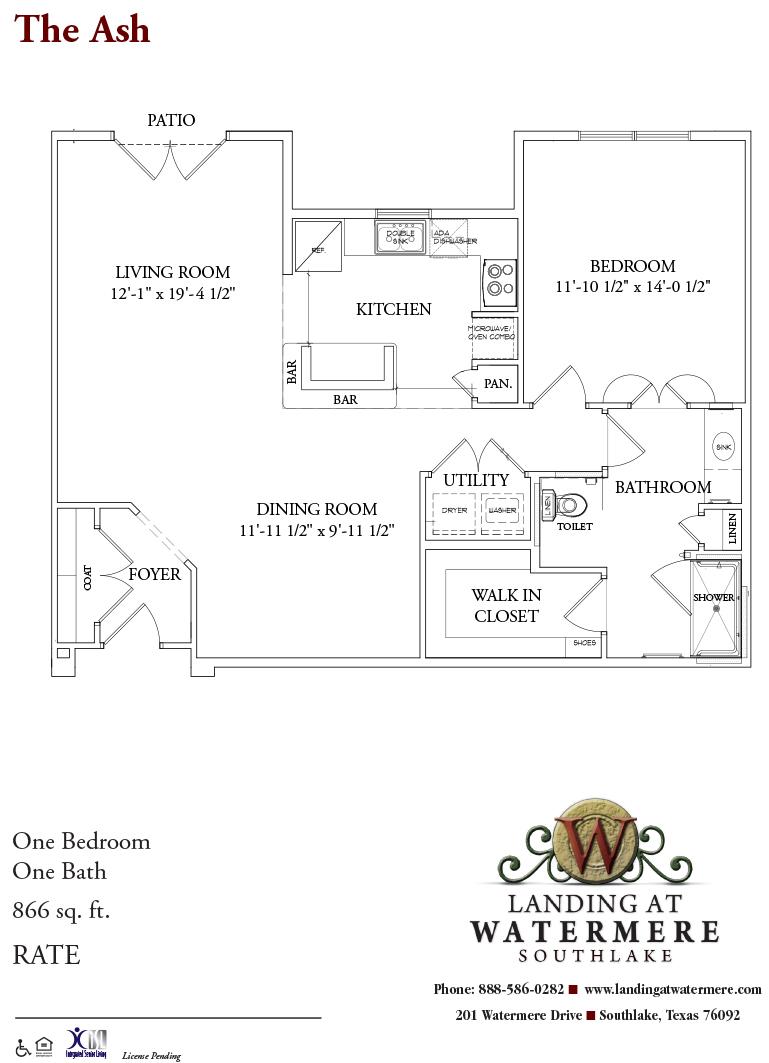 866 sq. ft. Ash floor plan