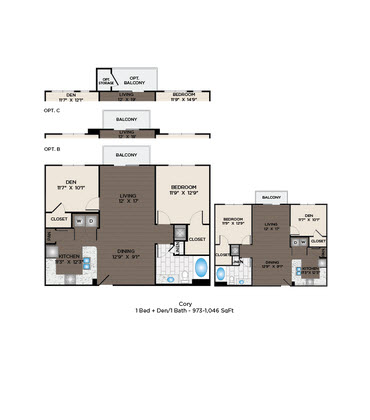 973 sq. ft. to 1,046 sq. ft. Cory floor plan