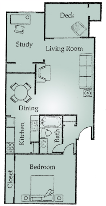 826 sq. ft. A5 floor plan
