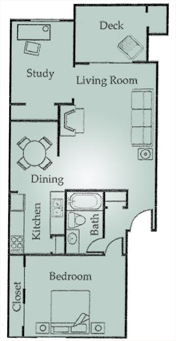 826 sq. ft. A5 floor plan