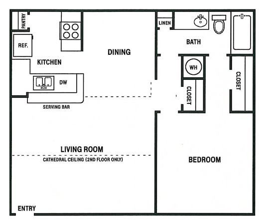 660 sq. ft. A floor plan