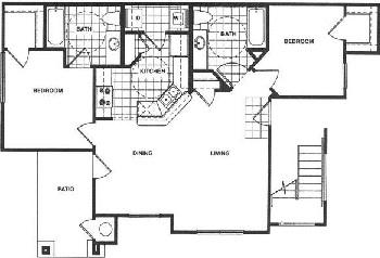 976 sq. ft. 60% floor plan