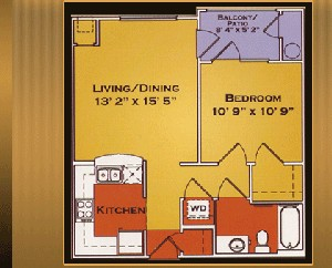 616 sq. ft. BILTMORE 60% floor plan