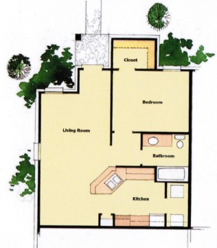 714 sq. ft. 60% floor plan