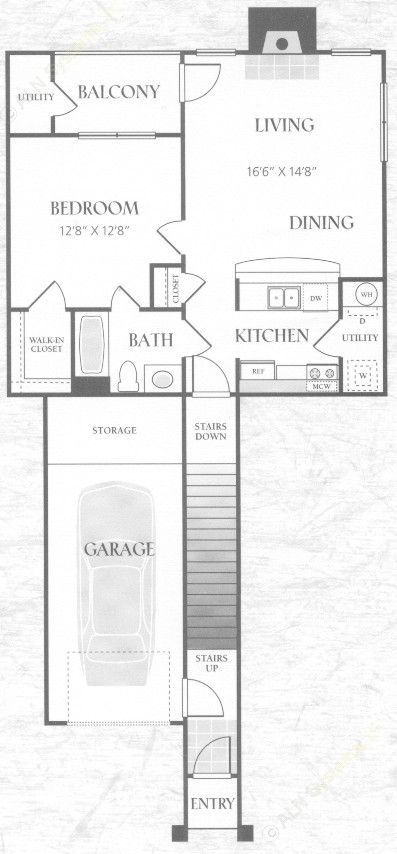 735 sq. ft. A1U floor plan